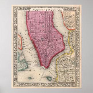 Mapa del vintage de un New York City más bajo (186 Póster