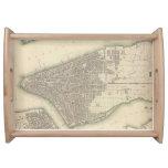 Mapa del vintage de un New York City más bajo Bandejas