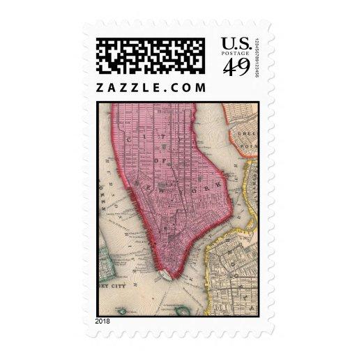 Mapa del vintage de un New York City más bajo Sello