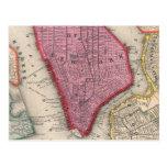 Mapa del vintage de un New York City más bajo Postal