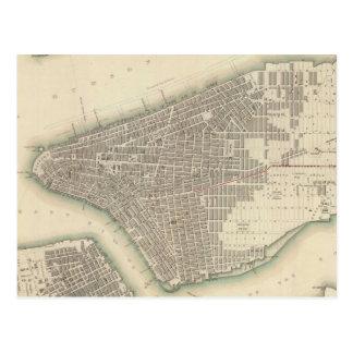Mapa del vintage de un New York City más bajo Tarjeta Postal