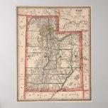 Mapa del vintage de Utah (1883) Póster