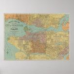 Mapa del vintage de Vancouver Canadá (1920) Póster