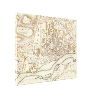 Mapa del vintage de Varsovia Polonia (1831) Lona Estirada Galerías