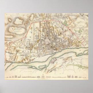 Mapa del vintage de Varsovia Polonia (1831) Impresiones
