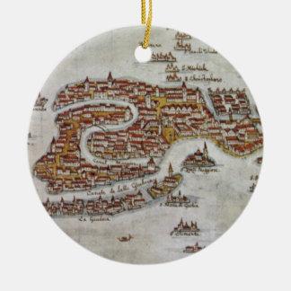 Mapa del vintage de Venecia (1649) Ornamento De Navidad