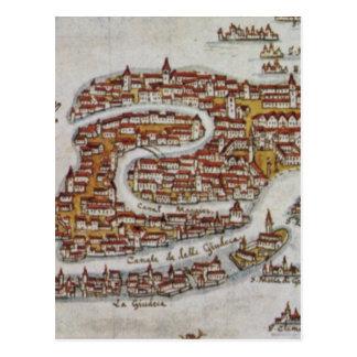 Mapa del vintage de Venecia (1649) Postales