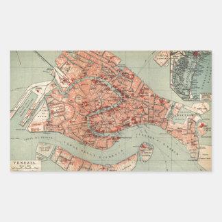 Mapa del vintage de Venecia Italia (1920) Pegatina Rectangular