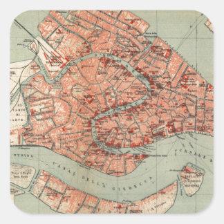 Mapa del vintage de Venecia Italia (1920) Pegatina Cuadrada