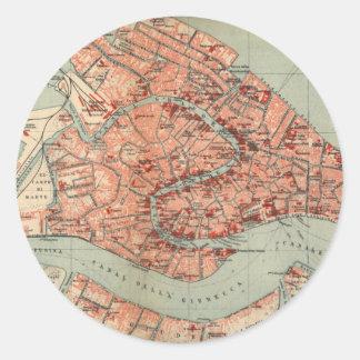 Mapa del vintage de Venecia Italia (1920) Pegatina Redonda