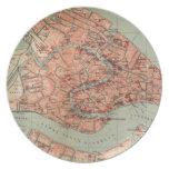 Mapa del vintage de Venecia Italia (1920) Platos