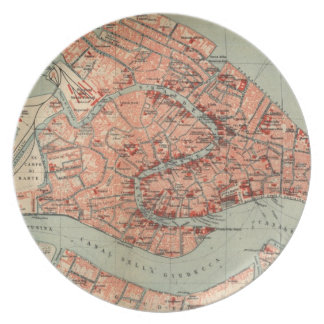 Mapa del vintage de Venecia Italia (1920) Platos Para Fiestas