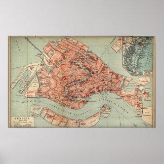 Mapa del vintage de Venecia Italia (1920) Póster