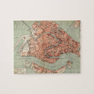 Mapa del vintage de Venecia Italia (1920) Puzzle Con Fotos