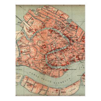 Mapa del vintage de Venecia Italia (1920) Postales