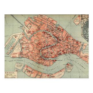 Mapa del vintage de Venecia Italia (1920) Tarjetas Postales