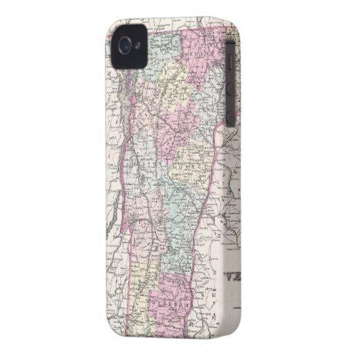 Mapa del vintage de Vermont (1855) Carcasa Para iPhone 4 De Case-Mate