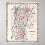 Mapa del vintage de Vermont (1855) Impresiones