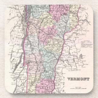 Mapa del vintage de Vermont (1855) Posavasos De Bebidas