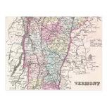 Mapa del vintage de Vermont (1855) Postal