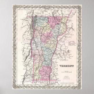 Mapa del vintage de Vermont (1855) Póster