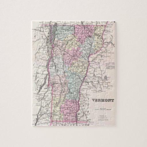 Mapa del vintage de Vermont (1855) Rompecabeza Con Fotos