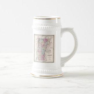 Mapa del vintage de Vermont 1855 Tazas De Café