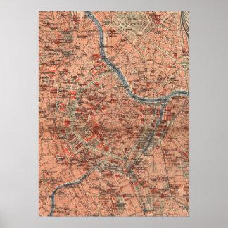 Mapa del vintage de Viena Austria (1920) Póster