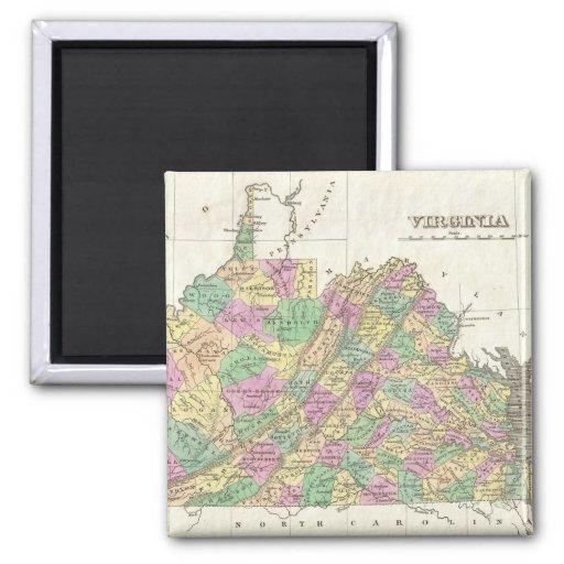 Mapa del vintage de Virginia (1827) Imán Para Frigorífico