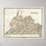 Mapa del vintage de Virginia (1827) Póster