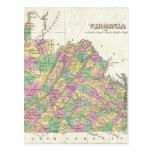 Mapa del vintage de Virginia (1827) Tarjeta Postal