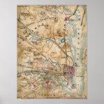 Mapa del vintage de Virginia del noreste (1862) Posters