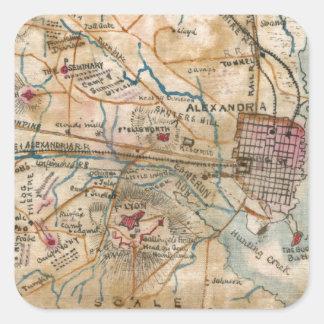 Mapa del vintage de Virginia del noreste (1862) Pegatina Cuadrada