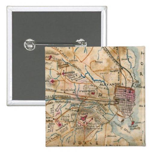 Mapa del vintage de Virginia del noreste (1862) Pin Cuadrada 5 Cm