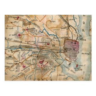 Mapa del vintage de Virginia del noreste (1862) Tarjetas Postales