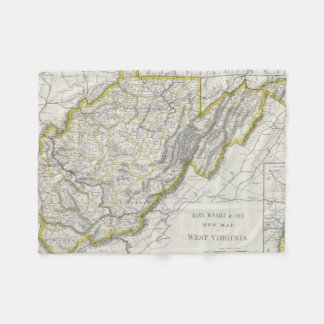 Mapa del vintage de Virginia Occidental (1889) Manta De Forro Polar