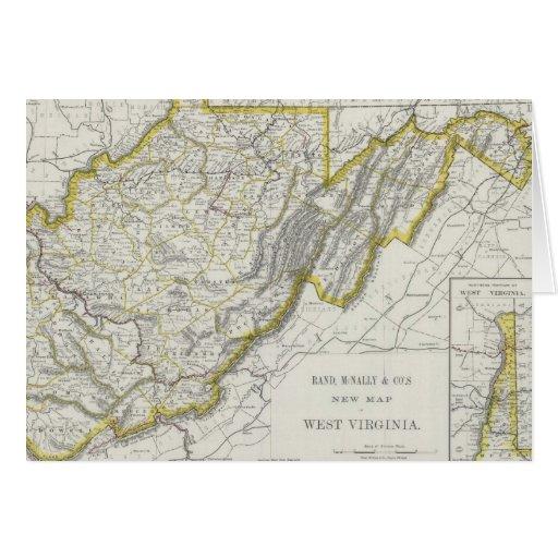 Mapa del vintage de Virginia Occidental (1889) Tarjeta De Felicitación