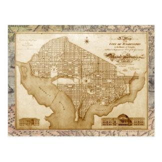 Mapa del vintage de Washington, C.C. (Ca 1818) Tarjetas Postales