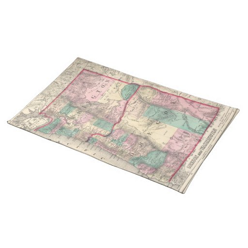 Mapa del vintage de Washington y de Oregon (1875) Mantel