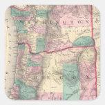 Mapa del vintage de Washington y de Oregon (1875) Pegatinas Cuadradases