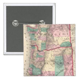 Mapa del vintage de Washington y de Oregon (1875) Pin Cuadrado