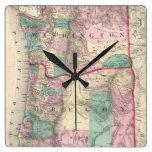 Mapa del vintage de Washington y de Oregon (1875) Relojes De Pared
