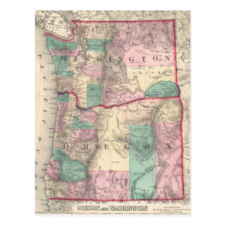 Mapa del vintage de Washington y de Oregon (1875) Postal