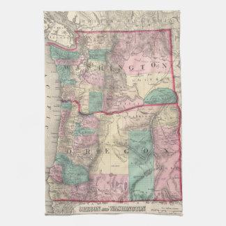Mapa del vintage de Washington y de Oregon (1875) Toalla De Cocina