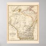 Mapa del vintage de Wisconsin 1852 Impresiones