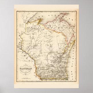 Mapa del vintage de Wisconsin 1852 Póster