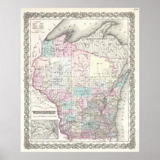 Mapa del vintage de Wisconsin (1855) Impresiones