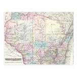 Mapa del vintage de Wisconsin (1855) Postal