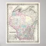 Mapa del vintage de Wisconsin (1855) Póster