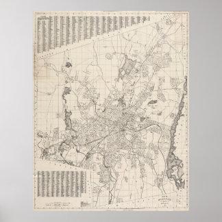 Mapa del vintage de Worcester Massachusetts (1919) Póster